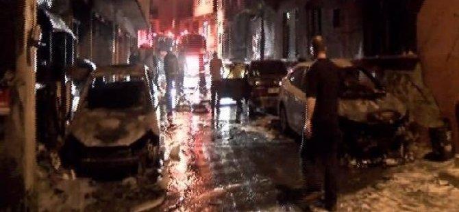Park halindeki 5 araç alev alev yandı