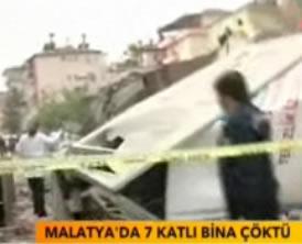 Malatya'da 7 katlı bir bina çöktü