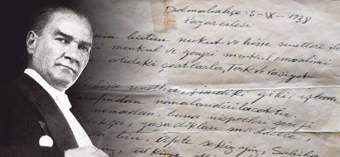 Atatürk'ün vasiyetnamesi yayınlandı