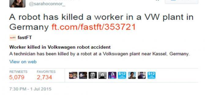 Sarah Connor bir adamın robot tarafından öldürüldüğünü tweetledi