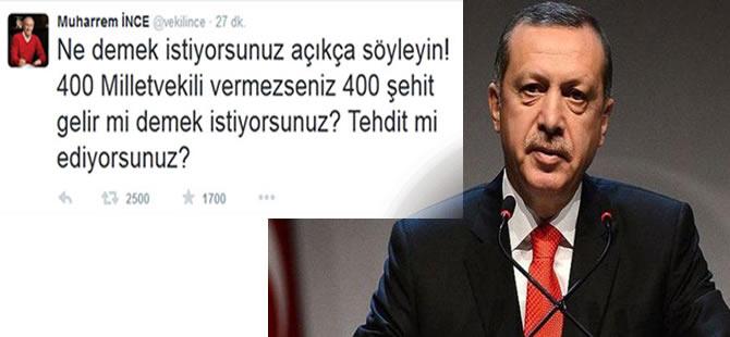 Erdoğan'ın '400 vekil' açıklamasına Muharrem İnce'den tepki!