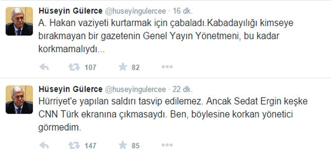 Hüseyin Gülerce'den ilginç 'korkak' tweeti!