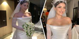 Ali Atay ile evlenen Hazal Kaya'nın gelinliği olay oldu
