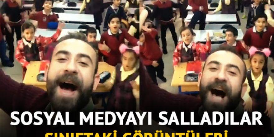 Öğretmen ve öğrencilerinin görüntüleri herkesi gülümsetti